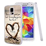 Galaxy S5 Case Samsung Galaxy S5 Case TPU Non-Slip High Definition Printing Quote Proverbs 4:23 Above all else, guard your heart,for everything you do flows from it.