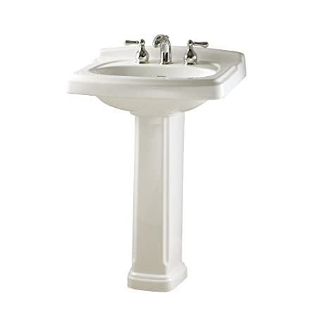 American Standard 0555.801.020 Townsend Pedestal Bathroom Sink with 8-Inch Faucet Spacing, White