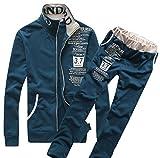 ONE LIMITATION(ワン リミテーション) トレーニング スウェット 長袖 上下 セット メンズスポーツ ウェア ルームウェア ジャージ TSW001 (04 ネイビー,XXL)