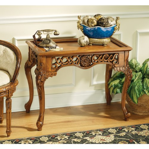 Cheap Hand-carved Solid Hardwood Antique Replica Traditional Console Table (KS20215)