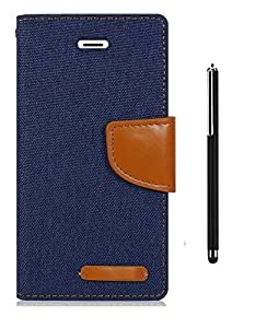 Relax&Shop Premium Look Flip Cover With Stylus For Xiaomi Redmi 1S- Navy Blue