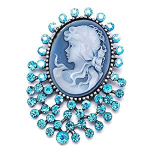 Pugster Classic Antique Lady Maiden Profile Blue Oval Beauty Cameo Aquamarine Floral Aquamarine Blue Swarovski Crystal Diamond Accent Brooches Pins