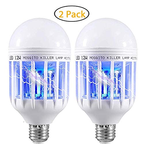 UJmall 2 Pack Bug Zapper Light Bulbs, 2-in-1 Mosquito and Fly Killer Lamp, UV LED Electronic Indoor and Outdoor Insect Trap Lamp