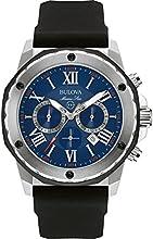 Comprar Bulova Marine Estrella - Reloj de hombre de cuarzo con esfera azul, cronógrafo y correa de silicona, color negro