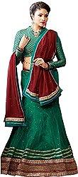 Shyam Fab Women's Brocade & Georgette Lehenga Choli (QU5956-A, Green)