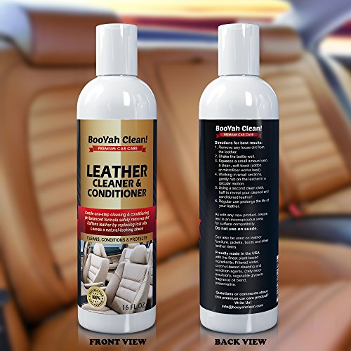 BooYah Clean! Leather Cleaner and Conditioner - 16 oz - Complete Leather Care in One Bottle - Eco-Friendly, pH Balanced Natural Ingredients - Best Premium Leather Cleaner and Conditioner for Car Interiors, Furniture, Handbags and More - USA Made and 100% Guaranteed
