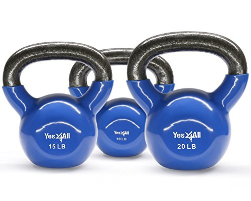 Set Vinyl Coated Kettlebell 10 + 15 + 20 lbs - ²KM1UZ
