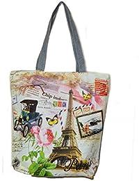 Women's Zipped Fashion Canvas Tote Love Paris Design Large Space Zipper Hand Bag