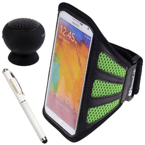 Sumaclife Mesh Workout Armband For Motorola Moto X / G / Droid Mini / Droid Ultra / Droid Maxx Smartphone + Laser Stylus Pen + Black Vangoddy Bluetooth Speaker (Green)