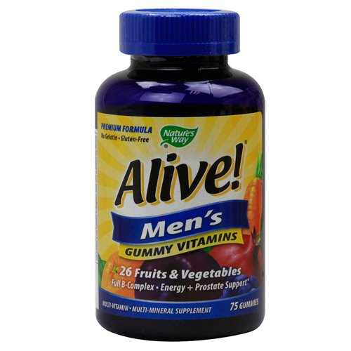 Nature's Way Alive! Men's Energy Gummy Multi-Vitamins Chewables, 75 Count