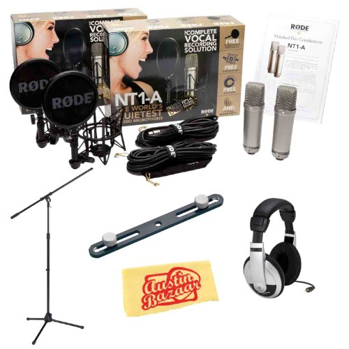 Rode Nt1-A-Mp Matched Pair Of Nt1-A Side-Address Nt1-A Cardioid Condenser Microphones Bundle With Mic Stand, Stereo Bar, 2 Shock Mounts, 2 Pop Filters, 2 Mic Cables, Headphones, And Polishing Cloth
