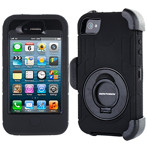 iPhone 4S Case, iPhone 4 Case, BENTOBEN Shockproof Heavy Duty Protection Hybrid Rugged Rubber Built-in Rotating Kickstand Belt Swivel Clip Holster for iPhone 4 4S,Black (Cool Case Iphone 4s compare prices)
