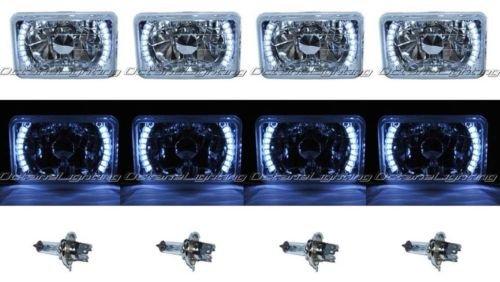 "Octane Lighting 4X6"" White Led Halo Drl Halogen Headlight Headlamp Light Bulbs Crystal Clear Set"
