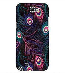 ColourCraft Beautiful Peacock Feathers Design Back Case Cover for SAMSUNG GALAXY NOTE 2 N7100