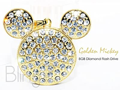 TheBlingZ 8GB Cute Gold Micky Diamond Bling Heart Jewellery Jewelry USB Flash Drive Disk Memory with Simulated DIAMOND Crystals -Ideal Great Gift from TheBlingZ