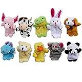 Super Z ® Cute 10pcs Velvet Animal Style Finger Puppets Set