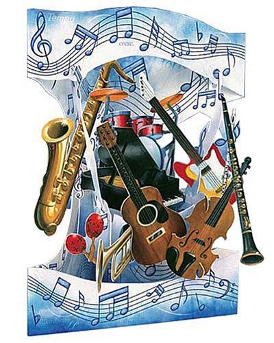 Santoro Interactive 3-D Swing Card, Musical Instrument Greeting Card