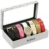 Reloj XOXO XO9040 para mujer en tono dorado con set de 7 pulseras intercambiables.