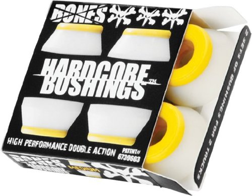Bones Hardcore 4pc Medium White/Yellow Bushings (Bushings Skateboard compare prices)