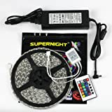SUPERNIGHT 32.8ft 10M Waterproof Flexible Strip 600leds Color Changing RGB SMD5050 LED Light Strip Kit RGB 5M +24Key Remote+24V 5A Power Supply