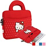 Hello Kitty Themed Prestigio MultiPad 4 Ultimate 8.0 3G Tablet Sleeve with Handles in Red with Polka Dots (Neoprene, Water Resistant, Dual YKK Zippers, Outer Pocket, Soft Plush Inner Lining)