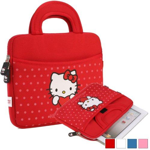 Hülle für Prestigio MultiPad 8.0 HD, HD*, Pro Duo, Ultra Duo Tablet mit Hello Kitty Motiv mit Punkten und Griffen in Rot (Neopren, Wasserdicht, Dual YKK Reißverschlüsse, Außentasche, mit weichem Plüsch Innenfutter)