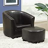 Monarch Specialties Dark Brown Leather Juvenile Arm Chair and Ottoman Set