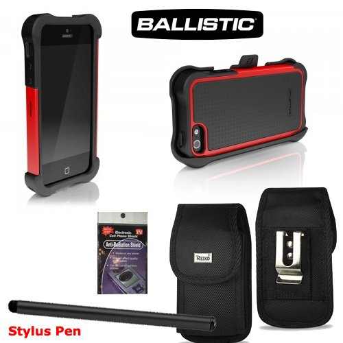 Great Sale iPhone 5 Black and Red AGF BALLISTIC SG MAXX SERIES Heavy Duty Rugged Cover Case. Comes with Metal Clip Case, Stylus Pen and Radiation Shield.