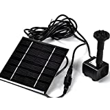 Sunnytech Solar Power Water Pump Kits - Garden Fountain Pool Watering Pond Pump Pool Aquarium Fish Tank with Separate Solar Panel and 3M Long Cable & 4 Sprayer Adapters(Black) (Color: Black)