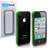 Green And Black Dual Bumper Case With Silver Buttons For The Apple iPhone 4/4S