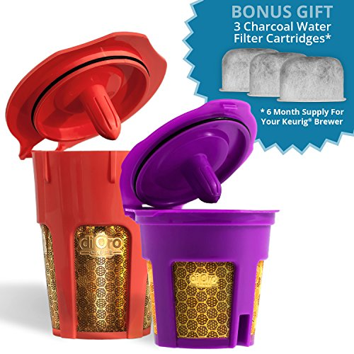 MaxBrew 24K GOLD Keurig Accessories (1) Single K-Cup Reusable (1) K-Carafe Reusable (3) Premium Water Filters for Keurig 2.0 - The Ultimate Accessory Pack (K Carafe Keurig compare prices)