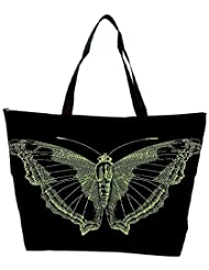Snoogg Bright Butterfly On Black Bacground Waterproof Bag Made Of High Strength Nylon
