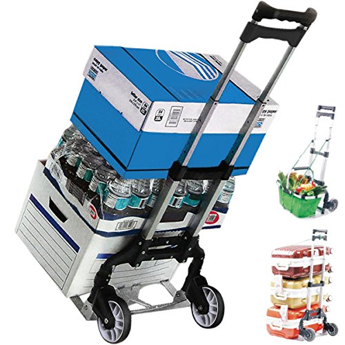 NLW 155 Lbs Aluminum Light Compact Hand Push Cart, Rustproof Heavy Duty Folding Moving Truck, Ultra Durable Utility Trolley with Solid Wheels, Easy to Use, Collapsible Dolly for Luggage