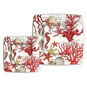 Michel Design Works 8 Count Lunch/Dessert Paper Plates, Red Coral