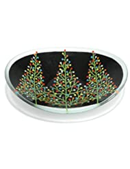 Peggy Karr Handcrafted Art Glass Tannenbaum Serving Bowl, Oval, 16-Inch