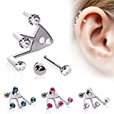 Piercing cartilage trident strass - Rose