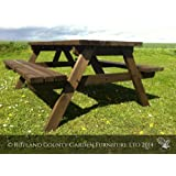 PICNIC TABLE - PUB STYLE BENCH - 6FT - BROWN - HEAVY DUTY - HAND MADE IN THE UK - RUSTIC BROWN - PRESSURE TREATED!!
