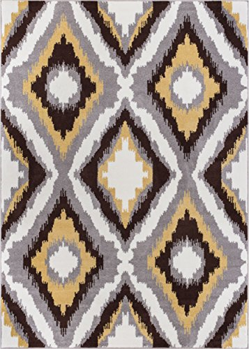 Lily Ikat Gold Grey Brown Contemporary Decorative Area Rug Stain Resistant Carpet Living Room Dining Room 8x10 (7'10'' x 9'10'' )