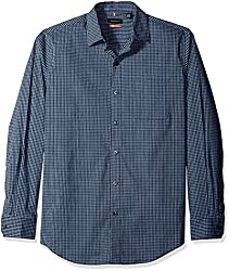 Van Heusen Men's Long Sleeve Traveler Stretch Non Iron Shirt, Blue/Black Iris, Small