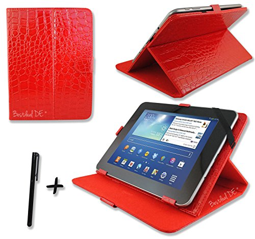 "Luxus Rot Krokodil PU Lederner Tasche Case Hülle für Point of View ProTab 3XXL & ProTab 25XXL 10.1"" Zoll Tablet PC + Stylus"
