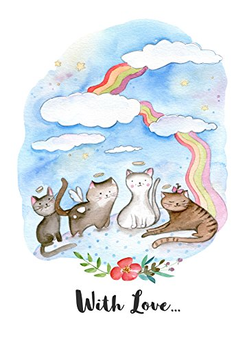 Pet Loss Gifts Card With Rainbow Bridge For Cat Theme Poem Great Loss of Pet Gifts and Sympathy Cards for Loss of Pets by JNH (Gifts For Pets)