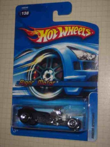 2005 - Mattel - Hot Wheels - #138 - Model H9046 - Rigor Motor - Hot Rod - Black with Red Canopy - Die Cast Metal - 1:64 Scale - New - Collectible - 1