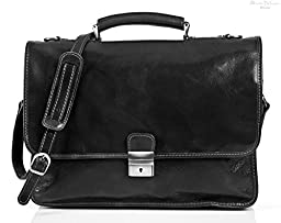 Alberto Bellucci Mens Italian Leather [Personalized Initials Embossing] Padova Double Compartment Laptop Messenger Bag in Black