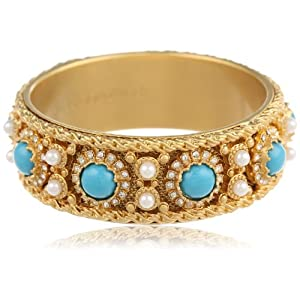 Juicy Couture Jewelry Blue Cabochon Bangle Bracelet, 2.5