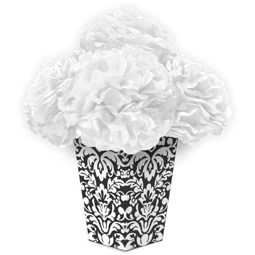 Amscan Devine Fluffy Flower Party Centerpiece,, Black/White