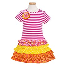 Rare Editions Toddler Girls 4T Fuchsia White Stripe Spring Dress