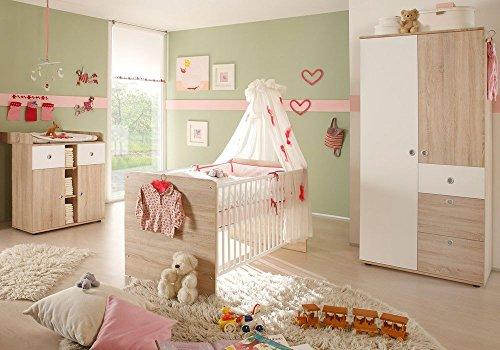 babyzimmer wiki 1 in eiche sonoma wei 3 tlg babym bel komplett set mit schrank babybett. Black Bedroom Furniture Sets. Home Design Ideas