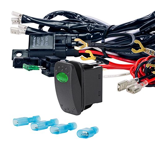 LAMPHUS 12V 40A Off Road ATV/Jeep LED Light Bar Relay Wiring Harness Kit - GREEN ON/OFF Switch (Cree Wiring Harness compare prices)