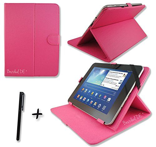 "Rosa PU Lederner Tasche Case Hülle für Point of View ProTab 3XXL & ProTab 25XXL 10.1"" Zoll Tablet PC + Stylus"