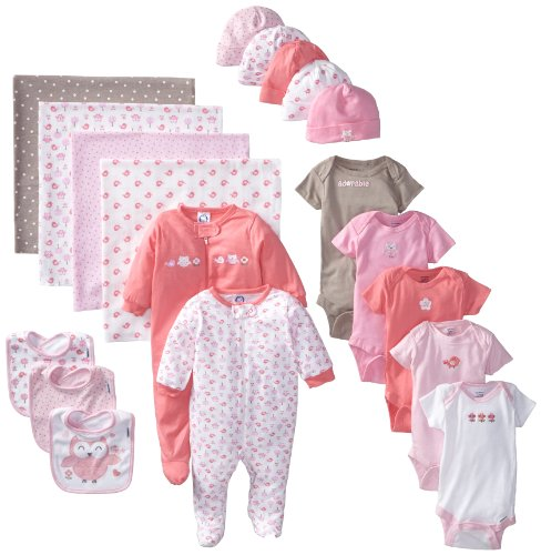 Gerber Baby-Girls Newborn 19 Piece Newborn Essentials Gift Set, Pink, 0-3 Months